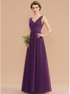 A-Line V-neck Floor-Length Tulle Lace Bridesmaid Dress