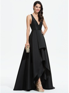 V-neck Asymmetrical Satin Evening Dress