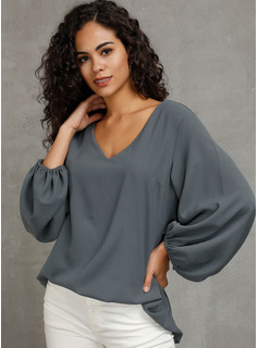Manches longues Manches Bouffantes Polyester Col V Blouses