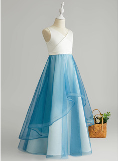 A-Line Floor-length Flower Girl Dress - Tulle Sleeveless V-neck With Ruffles
