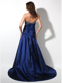 A-Line/Princess Sweetheart Court Train Taffeta Prom Dresses With Ruffle Beading Split Front
