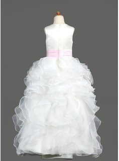 Ball Gown Floor-length Flower Girl Dress - Organza/Satin Sleeveless Scoop Neck With Ruffles/Sash