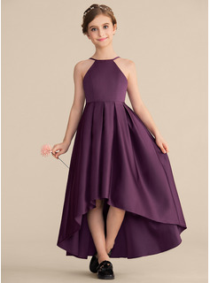 Scoop Neck Asymmetrical Satin Junior Bridesmaid Dress With Ruffle