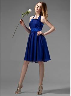 Empire Halter Knee-Length Chiffon Bridesmaid Dress With Ruffle Bow(s)