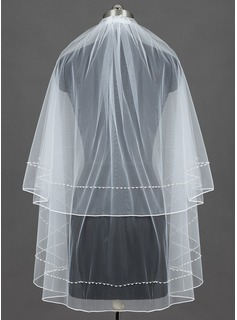 Two-tier Pencil Edge Fingertip Bridal Veils With Beading/Faux Pearl