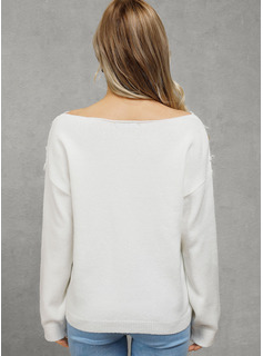 Long Sleeves Cotton V Neck Knit Blouses