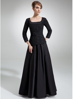 A-Line/Princess Square Neckline Floor-Length Chiffon Satin Mother of the Bride Dress With Ruffle Beading Sequins