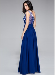 A-Line/Princess One-Shoulder Floor-Length Chiffon Prom Dresses With Ruffle Appliques Lace Flower(s)
