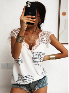 Regular Polyester V-Neck Figure Lace Print Fitted Blouses