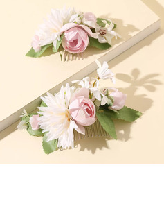 Beautiful Silk Flower/Frosted flower Tiaras/Flower Girl's Headwear/Combs & Barrettes/Flowers & Feathers (Set of 2)