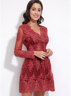 Polyester With Lace/Solid Knee Length Dress