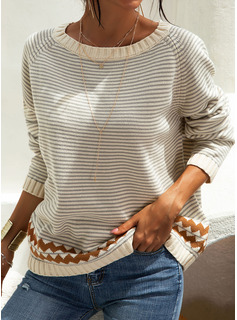 Striped Chunky knit Polyester Round Neck Pullovers Sweaters