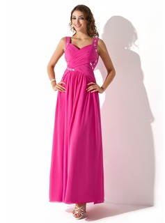 A-Line/Princess Sweetheart Ankle-Length Chiffon Prom Dresses With Ruffle Beading