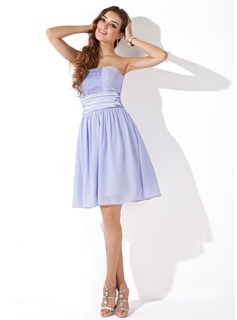 Empire Strapless Knee-Length Chiffon Homecoming Dress With Ruffle Beading