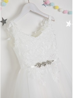 A-Line Knee-length Flower Girl Dress - Tulle/Lace Sleeveless V-neck With Beading