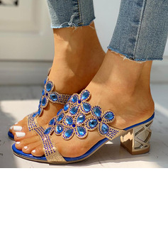 Women's PU Chunky Heel Sandals Slippers Heels With Rhinestone shoes
