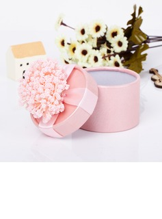 Lovely Cylinder Card Paper Favor Boxes With Flowers (Set of 12)