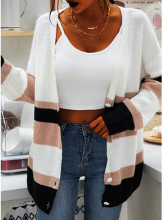 Color Block Polyester V-neck Pullovers Sweaters