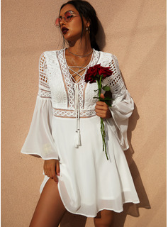 Lace Solid V-Neck Long Sleeves Flare Sleeve Midi Dresses