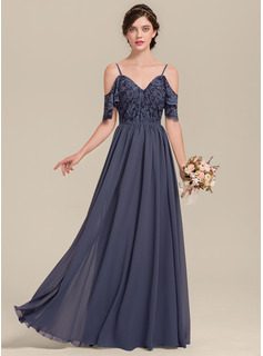 A-Line/Princess V-neck Floor-Length Chiffon Lace Bridesmaid Dress With Cascading Ruffles
