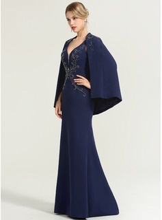 Trumpet/Mermaid V-neck Floor-Length Stretch Crepe Evening Dress With Beading