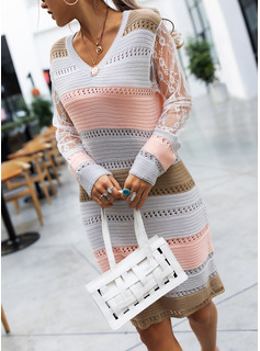 Color Block Lace V-Neck Long Sleeves Casual Long Tight Sweater Dress Dresses