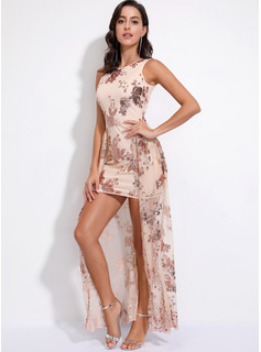 Polyester With Sequins/Ruffles Maxi Dress
