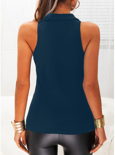 Regular Tight Solid Button Up Sexy Sleeveless