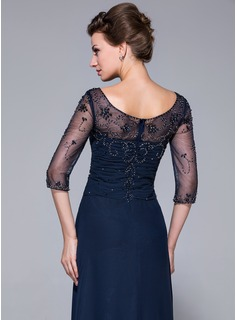 A-Line/Princess Scoop Neck Sweep Train Chiffon Mother of the Bride Dress With Beading Sequins