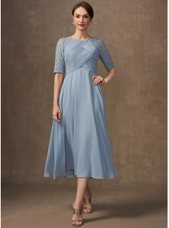 A-Line Scoop Neck Tea-Length Chiffon Lace Mother of the Bride Dress With Ruffle