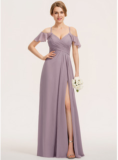 V-neck Floor-Length Chiffon Bridesmaid Dress With Split Front Cascading Ruffles