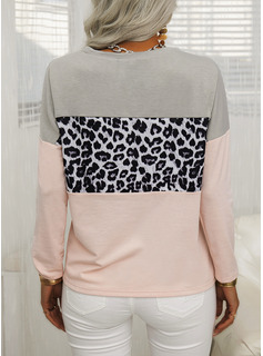 Regular Cotton Blends Round Neck Sequins Fitted Blouses