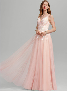 A-Line Sweetheart Floor-Length Tulle Wedding Dress With Sequins