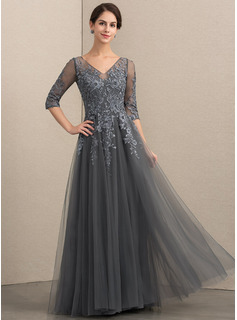 A-Line V-neck Floor-Length Tulle Lace Evening Dress With Beading Sequins