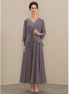 A-Line V-neck Ankle-Length Chiffon Mother of the Bride Dress With Beading Appliques Lace Sequins