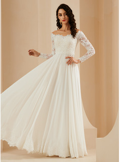 A-Line Off-the-Shoulder Sweep Train Wedding Dress With Lace