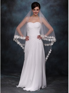 One-tier Chapel Bridal Veils With Lace Applique Edge
