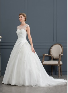 Ball-Gown/Princess Illusion Court Train Satin Tulle Wedding Dress With Lace