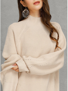 Pulls Tricot à Câble Gros tricot Couleur Unie Polyester Col Roulé Pull-overs Robes pull Pulls