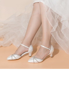 Women's Satin Fabric Low Heel Closed Toe With Buckle Sparkling Glitter