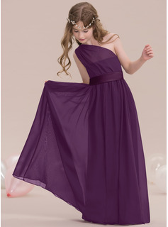 A-Line One-Shoulder Floor-Length Chiffon Junior Bridesmaid Dress With Ruffle