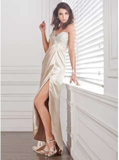 Sheath/Column Sweetheart Sweep Train Charmeuse Evening Dress With Ruffle Beading Sequins Split Front