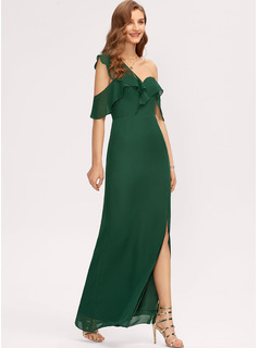 Sheath/Column One-Shoulder Floor-Length Chiffon Bridesmaid Dress With Split Front Cascading Ruffles
