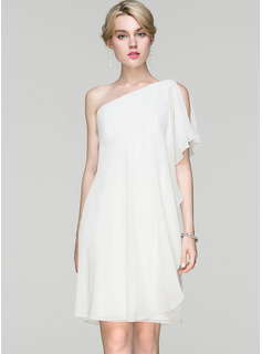 Sheath/Column One-Shoulder Knee-Length Chiffon Cocktail Dress