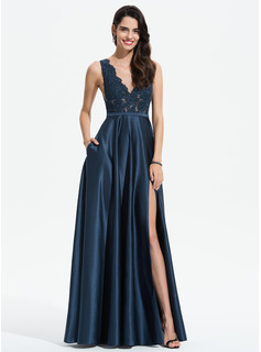 V-neck Floor-Length Satin Evening Dress With Lace Sequins Split Front Pockets