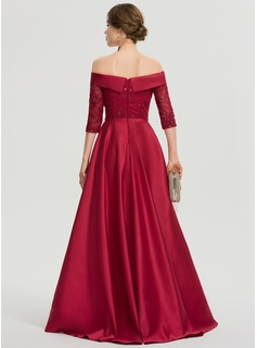 Off-the-Shoulder Asymmetrical Satin Prom Dresses With Sequins