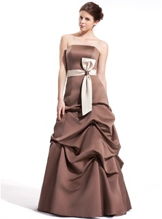 A-Line/Princess Strapless Floor-Length Satin Bridesmaid Dress With Ruffle Sash