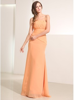 A-Line/Princess Strapless Floor-Length Chiffon Holiday Dress With Ruffle