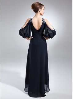 A-Line V-neck Asymmetrical Chiffon Mother of the Bride Dress With Beading Cascading Ruffles
