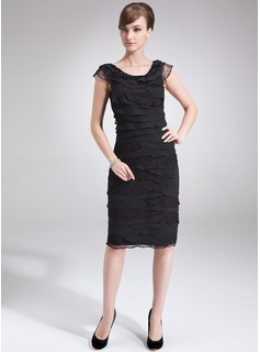 Sheath/Column Scoop Neck Knee-Length Chiffon Mother of the Bride Dress With Lace